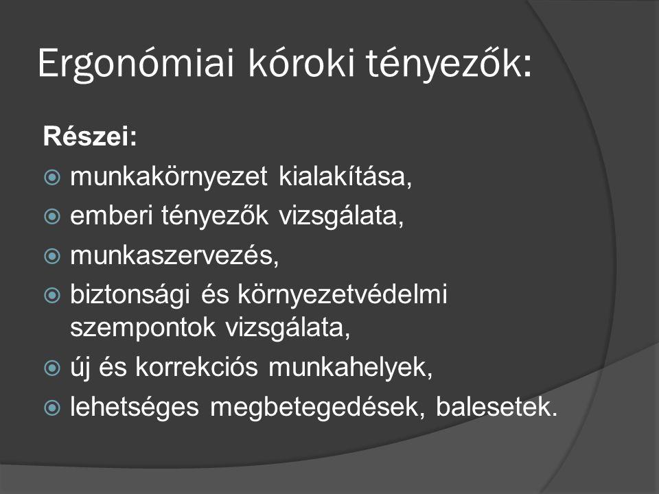 Ergonómiai kóroki tényezők: Részei:  munkakörnyezet kialakítása,  emberi tényezők vizsgálata,  munkaszervezés,  biztonsági és környezetvédelmi szempontok vizsgálata,  új és korrekciós munkahelyek,  lehetséges megbetegedések, balesetek.