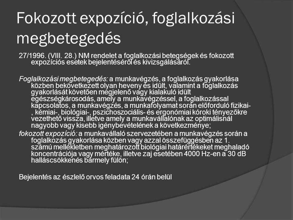 Fokozott expozíció, foglalkozási megbetegedés 27/1996.