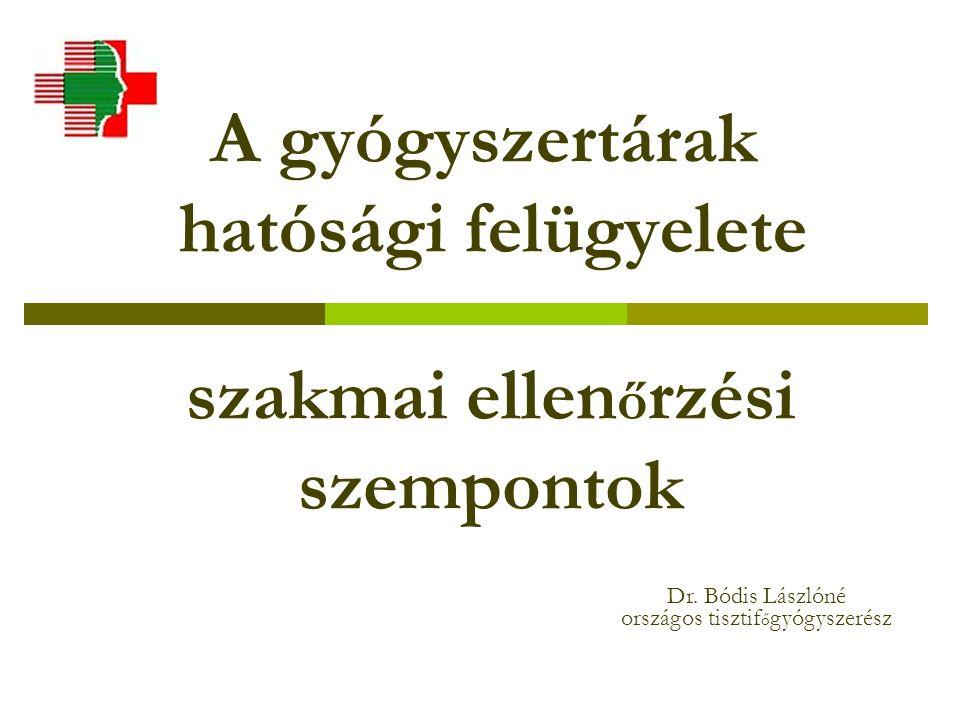 A gyógyszertárak hatósági felügyelete szakmai ellen ő rzési szempontok Dr.