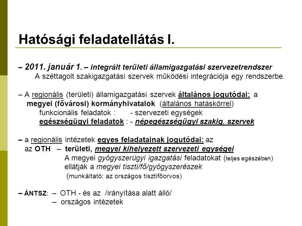 Hatósági feladatellátás I. – 2011. január 1.
