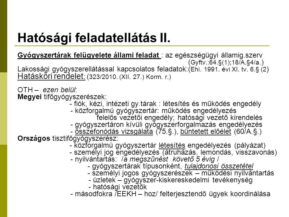 Hatósági feladatellátás II.