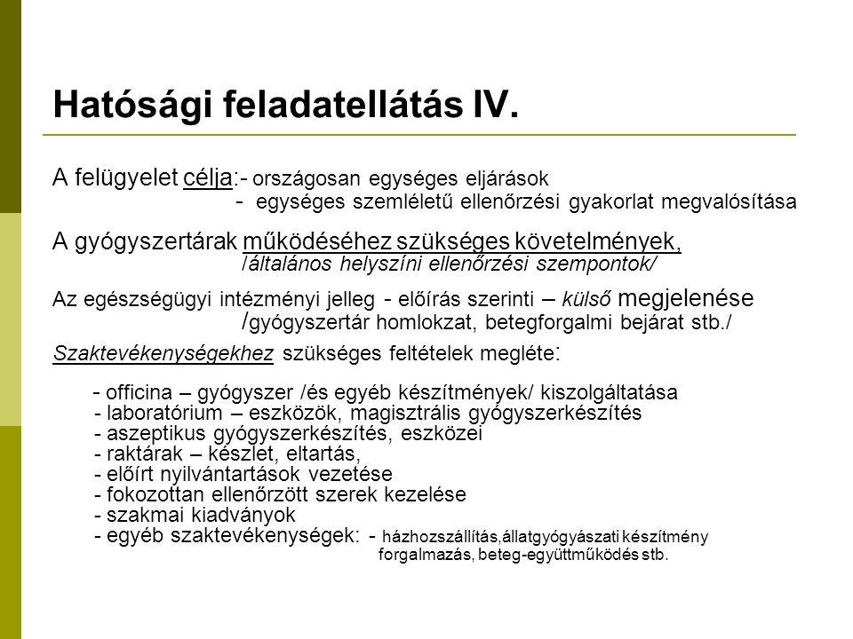 Hatósági feladatellátás IV.