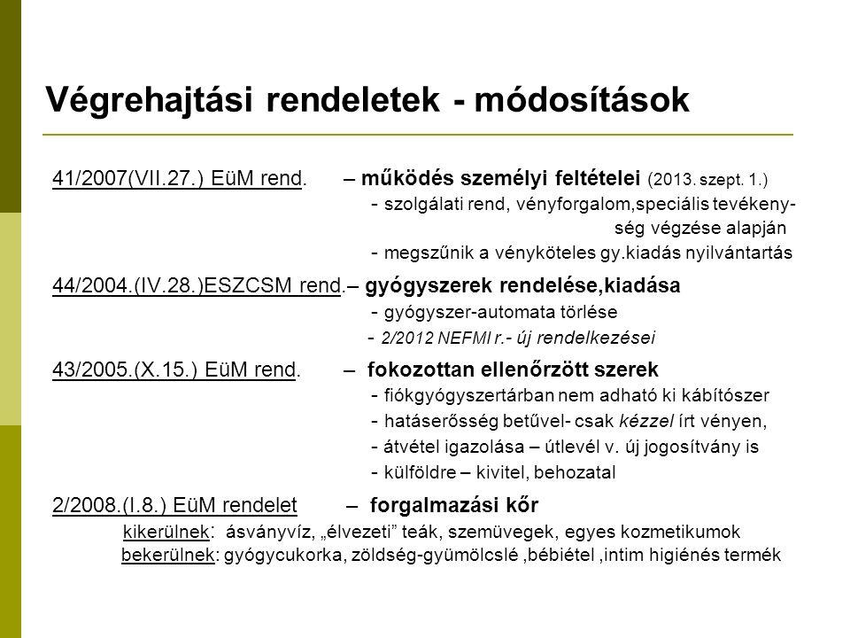 Végrehajtási rendeletek - módosítások 41/2007(VII.27.) EüM rend.
