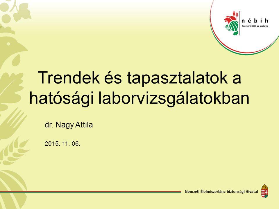 Trendek és tapasztalatok a hatósági laborvizsgálatokban dr. Nagy Attila 2015. 11. 06.