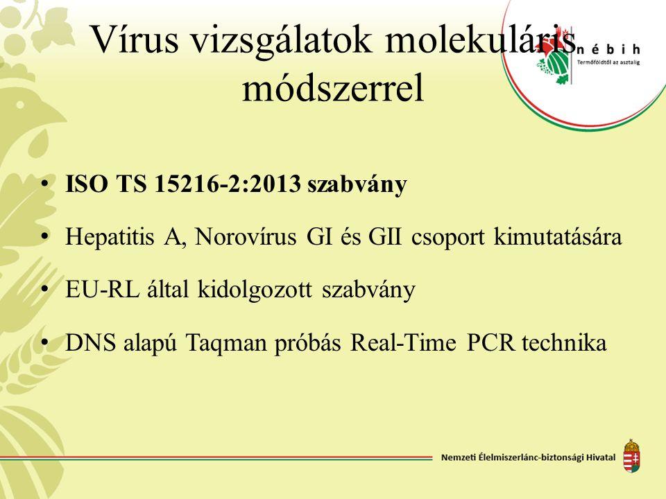 Vírus vizsgálatok molekuláris módszerrel ISO TS 15216-2:2013 szabvány Hepatitis A, Norovírus GI és GII csoport kimutatására EU-RL által kidolgozott sz