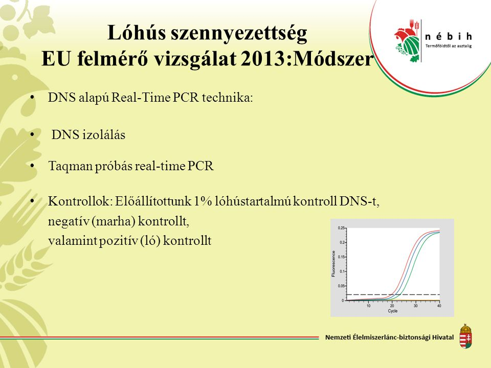 Lóhús szennyezettség EU felmérő vizsgálat 2013:Módszer DNS alapú Real-Time PCR technika: DNS izolálás Taqman próbás real-time PCR Kontrollok: Előállít