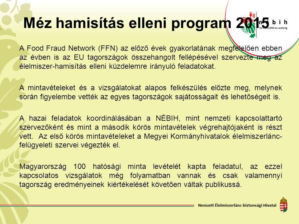 Méz hamisítás elleni program 2015 A Food Fraud Network (FFN) az előző évek gyakorlatának megfelelően ebben az évben is az EU tagországok összehangolt