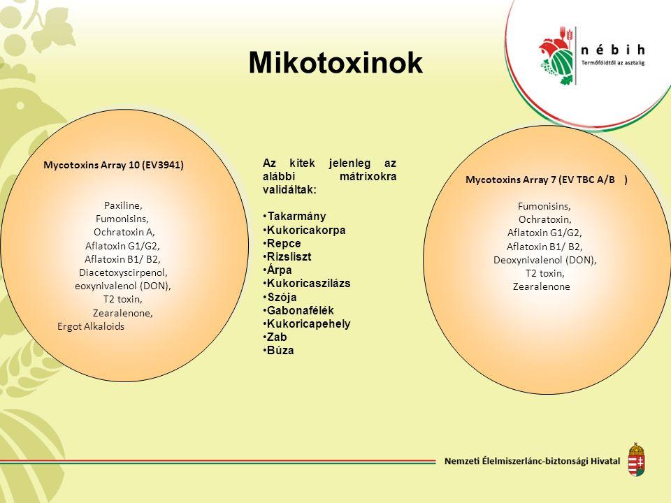Mikotoxinok Mycotoxins Array 10 (EV3941) Paxiline, Fumonisins, Ochratoxin A, Aflatoxin G1/G2, Aflatoxin B1/ B2, Diacetoxyscirpenol, eoxynivalenol (DON), T2 toxin, Zearalenone, Ergot Alkaloids Mycotoxins Array 10 (EV3941) Paxiline, Fumonisins, Ochratoxin A, Aflatoxin G1/G2, Aflatoxin B1/ B2, Diacetoxyscirpenol, eoxynivalenol (DON), T2 toxin, Zearalenone, Ergot Alkaloids Mycotoxins Array 7 (EV TBC A/B) Fumonisins, Ochratoxin, Aflatoxin G1/G2, Aflatoxin B1/ B2, Deoxynivalenol (DON), T2 toxin, Zearalenone Mycotoxins Array 7 (EV TBC A/B) Fumonisins, Ochratoxin, Aflatoxin G1/G2, Aflatoxin B1/ B2, Deoxynivalenol (DON), T2 toxin, Zearalenone Az kitek jelenleg az alábbi mátrixokra validáltak: Takarmány Kukoricakorpa Repce Rizsliszt Árpa Kukoricaszilázs Szója Gabonafélék Kukoricapehely Zab Búza