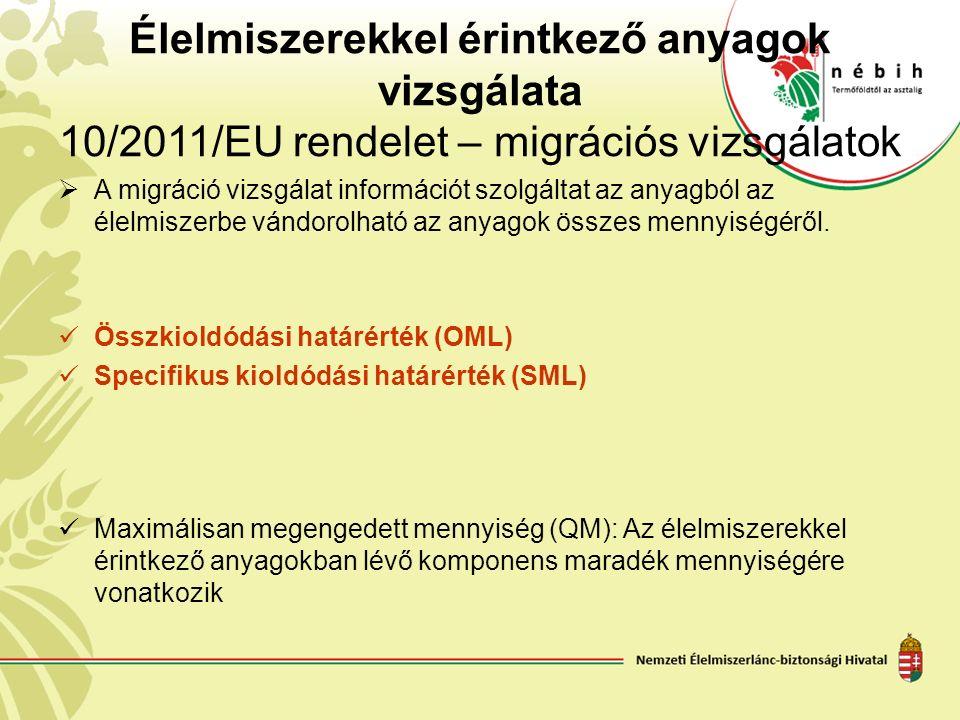 Élelmiszerekkel érintkező anyagok vizsgálata 10/2011/EU rendelet – migrációs vizsgálatok  A migráció vizsgálat információt szolgáltat az anyagból az