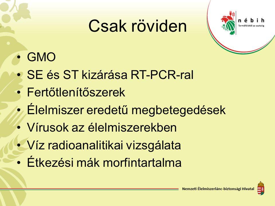 Csak röviden GMO SE és ST kizárása RT-PCR-ral Fertőtlenítőszerek Élelmiszer eredetű megbetegedések Vírusok az élelmiszerekben Víz radioanalitikai vizs