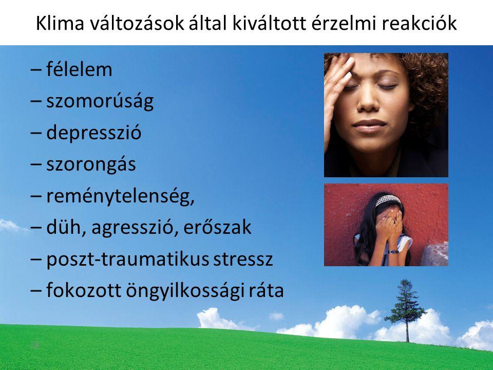 –félelem –szomorúság –depresszió –szorongás –reménytelenség, –düh, agresszió, erőszak –poszt-traumatikus stressz –fokozott öngyilkossági ráta Klima változások által kiváltott érzelmi reakciók 28