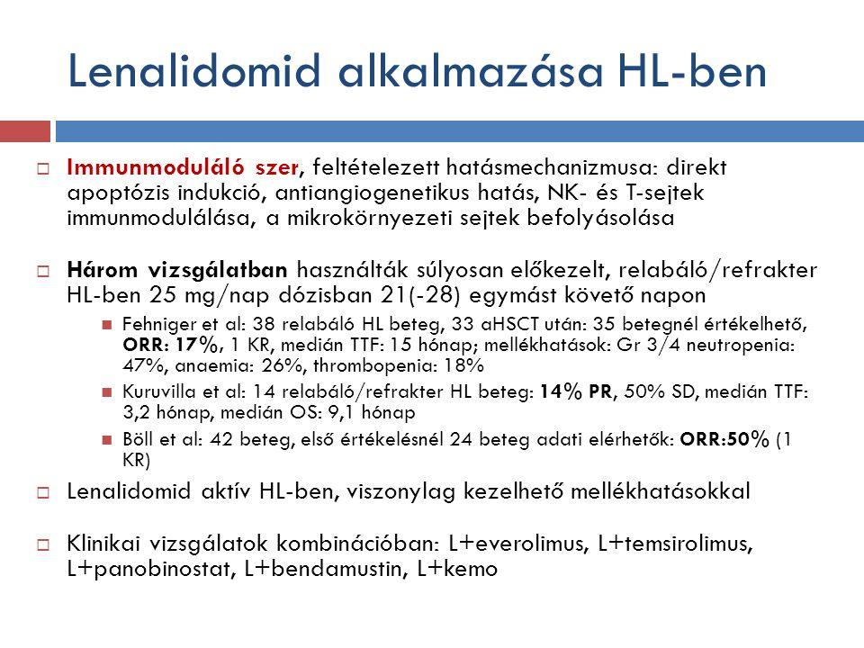Lenalidomid alkalmazása HL-ben  Immunmoduláló szer, feltételezett hatásmechanizmusa: direkt apoptózis indukció, antiangiogenetikus hatás, NK- és T-sejtek immunmodulálása, a mikrokörnyezeti sejtek befolyásolása  Három vizsgálatban használták súlyosan előkezelt, relabáló/refrakter HL-ben 25 mg/nap dózisban 21(-28) egymást követő napon Fehniger et al: 38 relabáló HL beteg, 33 aHSCT után: 35 betegnél értékelhető, ORR: 17%, 1 KR, medián TTF: 15 hónap; mellékhatások: Gr 3/4 neutropenia: 47%, anaemia: 26%, thrombopenia: 18% Kuruvilla et al: 14 relabáló/refrakter HL beteg: 14% PR, 50% SD, medián TTF: 3,2 hónap, medián OS: 9,1 hónap Böll et al: 42 beteg, első értékelésnél 24 beteg adati elérhetők: ORR:50% (1 KR)  Lenalidomid aktív HL-ben, viszonylag kezelhető mellékhatásokkal  Klinikai vizsgálatok kombinációban: L+everolimus, L+temsirolimus, L+panobinostat, L+bendamustin, L+kemo
