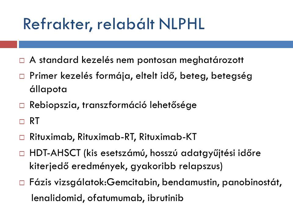 Refrakter, relabált NLPHL  A standard kezelés nem pontosan meghatározott  Primer kezelés formája, eltelt idő, beteg, betegség állapota  Rebiopszia, transzformáció lehetősége  RT  Rituximab, Rituximab-RT, Rituximab-KT  HDT-AHSCT (kis esetszámú, hosszú adatgyűjtési időre kiterjedő eredmények, gyakoribb relapszus)  Fázis vizsgálatok:Gemcitabin, bendamustin, panobinostát, lenalidomid, ofatumumab, ibrutinib