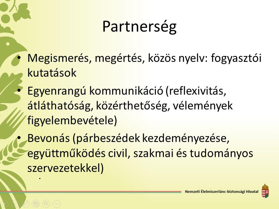 Partnerség Megismerés, megértés, közös nyelv: fogyasztói kutatások Egyenrangú kommunikáció (reflexivitás, átláthatóság, közérthetőség, vélemények figyelembevétele) Bevonás (párbeszédek kezdeményezése, együttműködés civil, szakmai és tudományos szervezetekkel)