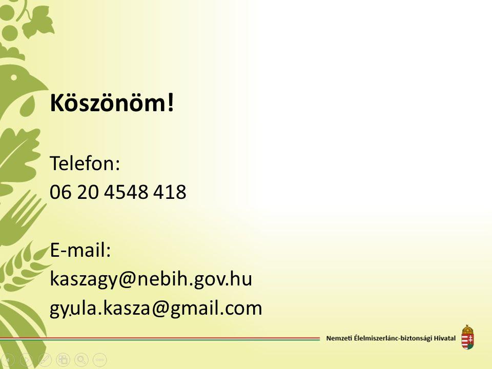 Köszönöm! Telefon: 06 20 4548 418 E-mail: kaszagy@nebih.gov.hu gyula.kasza@gmail.com