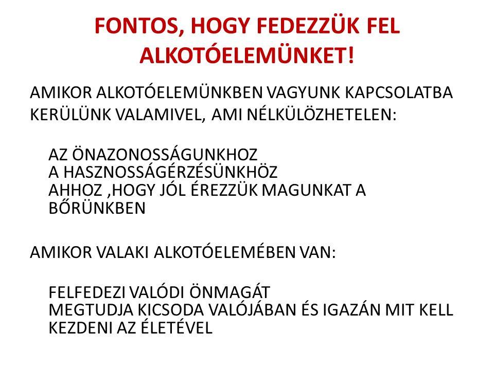 FONTOS, HOGY FEDEZZÜK FEL ALKOTÓELEMÜNKET.