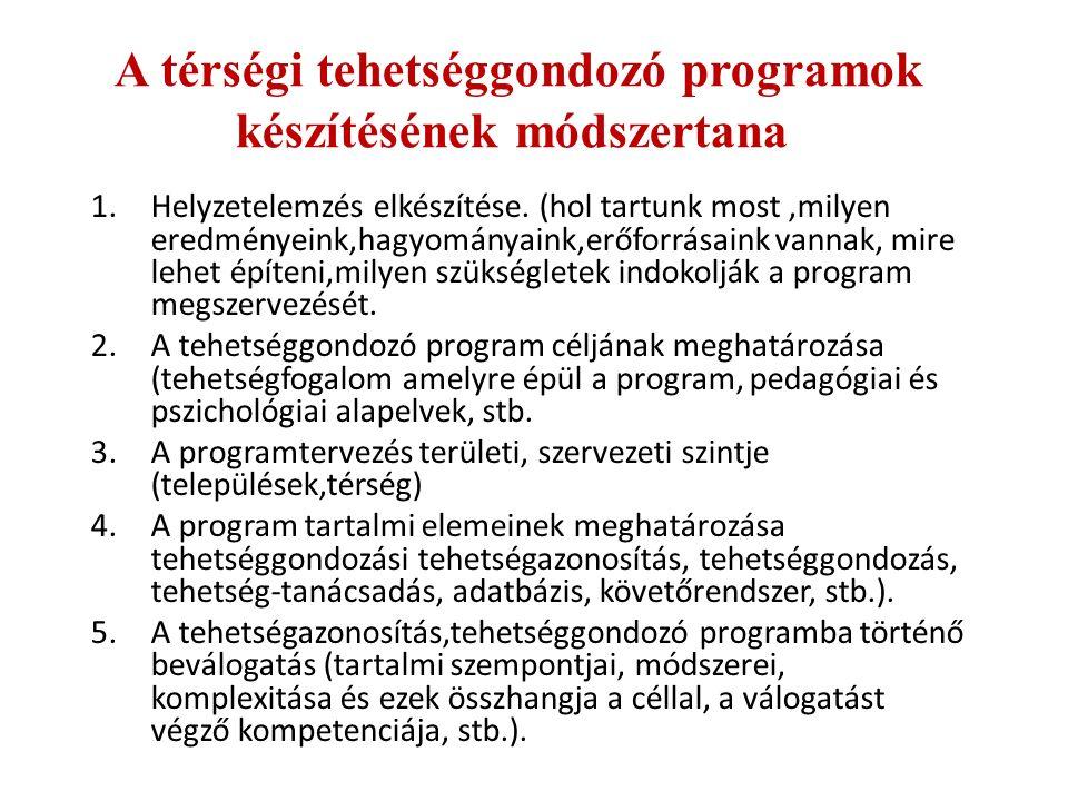 A térségi tehetséggondozó programok készítésének módszertana 1.Helyzetelemzés elkészítése.