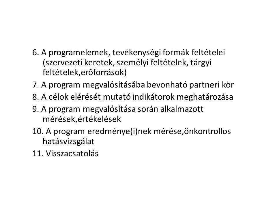 6. A programelemek, tevékenységi formák feltételei (szervezeti keretek, személyi feltételek, tárgyi feltételek,erőforrások) 7. A program megvalósításá