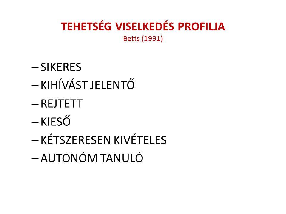 TEHETSÉG VISELKEDÉS PROFILJA Betts (1991) – SIKERES – KIHÍVÁST JELENTŐ – REJTETT – KIESŐ – KÉTSZERESEN KIVÉTELES – AUTONÓM TANULÓ
