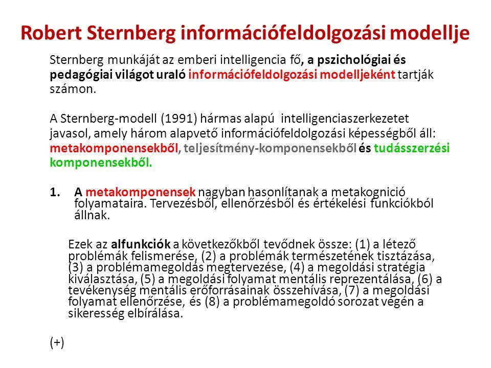 Robert Sternberg információfeldolgozási modellje Sternberg munkáját az emberi intelligencia fő, a pszichológiai és pedagógiai világot uraló információfeldolgozási modelljeként tartják számon.