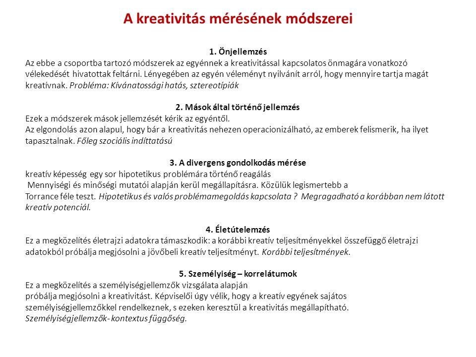 A kreativitás mérésének módszerei 1.
