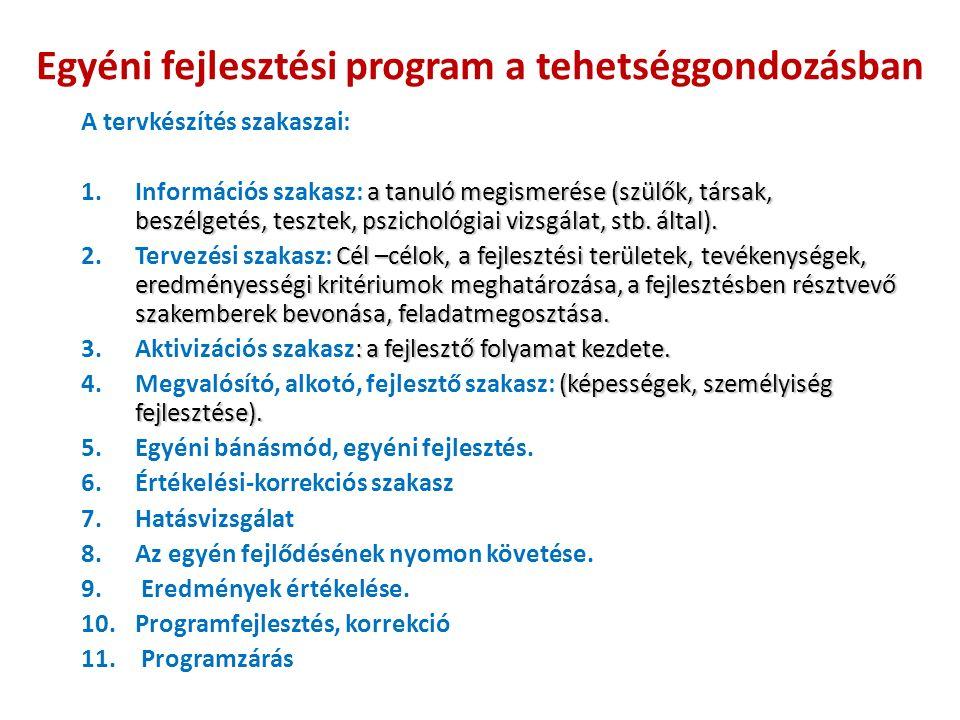 Egyéni fejlesztési program a tehetséggondozásban A tervkészítés szakaszai: a tanuló megismerése (szülők, társak, beszélgetés, tesztek, pszichológiai vizsgálat, stb.