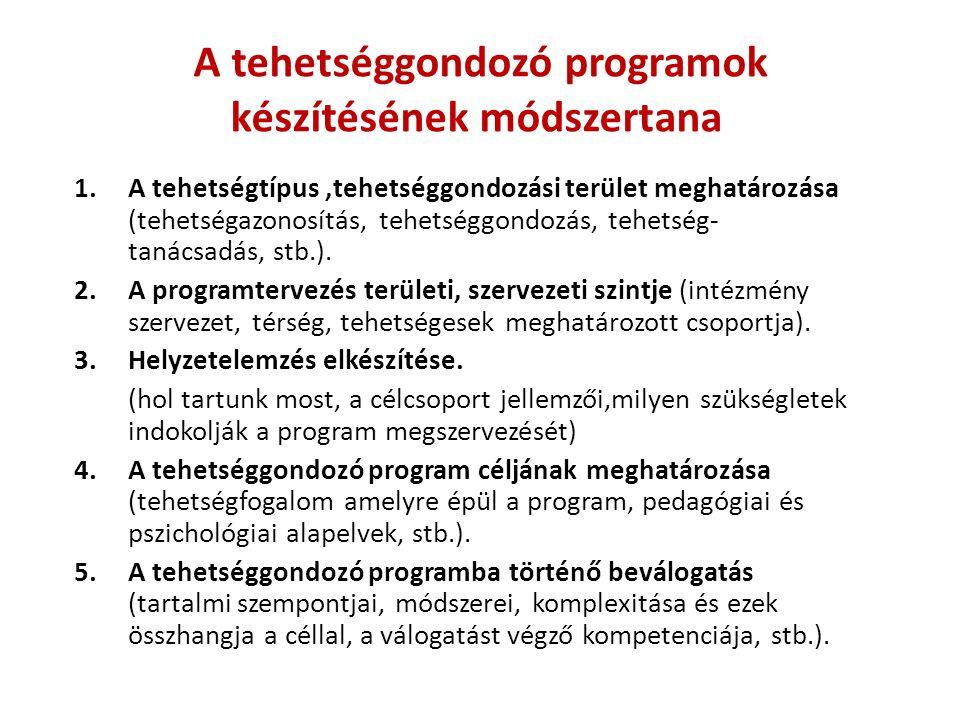 A tehetséggondozó programok készítésének módszertana 1.A tehetségtípus,tehetséggondozási terület meghatározása (tehetségazonosítás, tehetséggondozás, tehetség- tanácsadás, stb.).