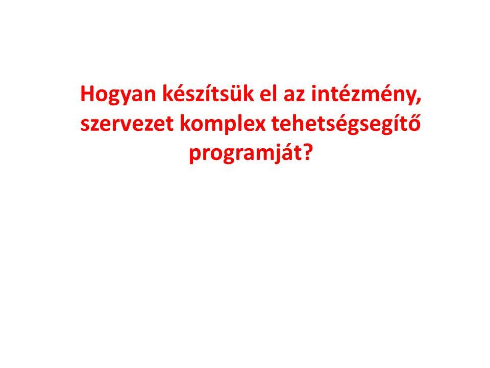 Hogyan készítsük el az intézmény, szervezet komplex tehetségsegítő programját