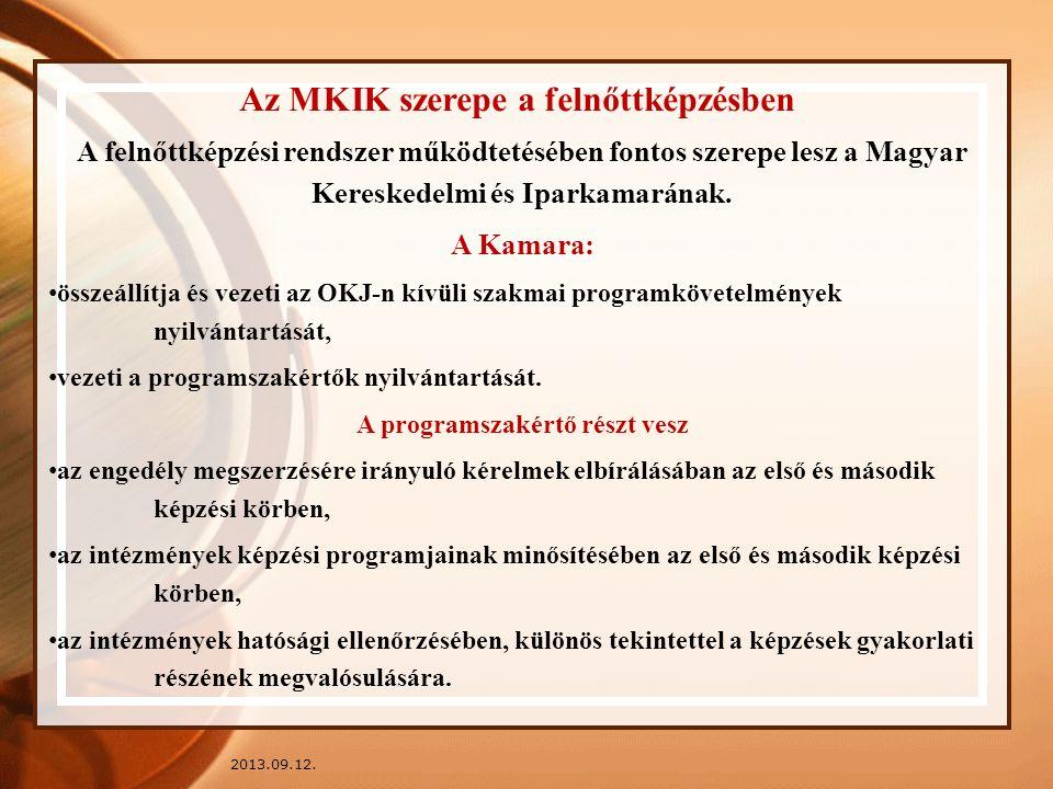 2013.09.12. Az MKIK szerepe a felnőttképzésben A felnőttképzési rendszer működtetésében fontos szerepe lesz a Magyar Kereskedelmi és Iparkamarának. A