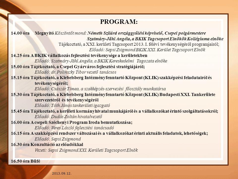 2013.09.12. PROGRAM: 14.00 óra Megnyitó Köszöntőt mond: Németh Szilárd országgyűlési képviselő, Csepel polgármestere Szatmáry-Jähl Angéla, a BKIK Tagc