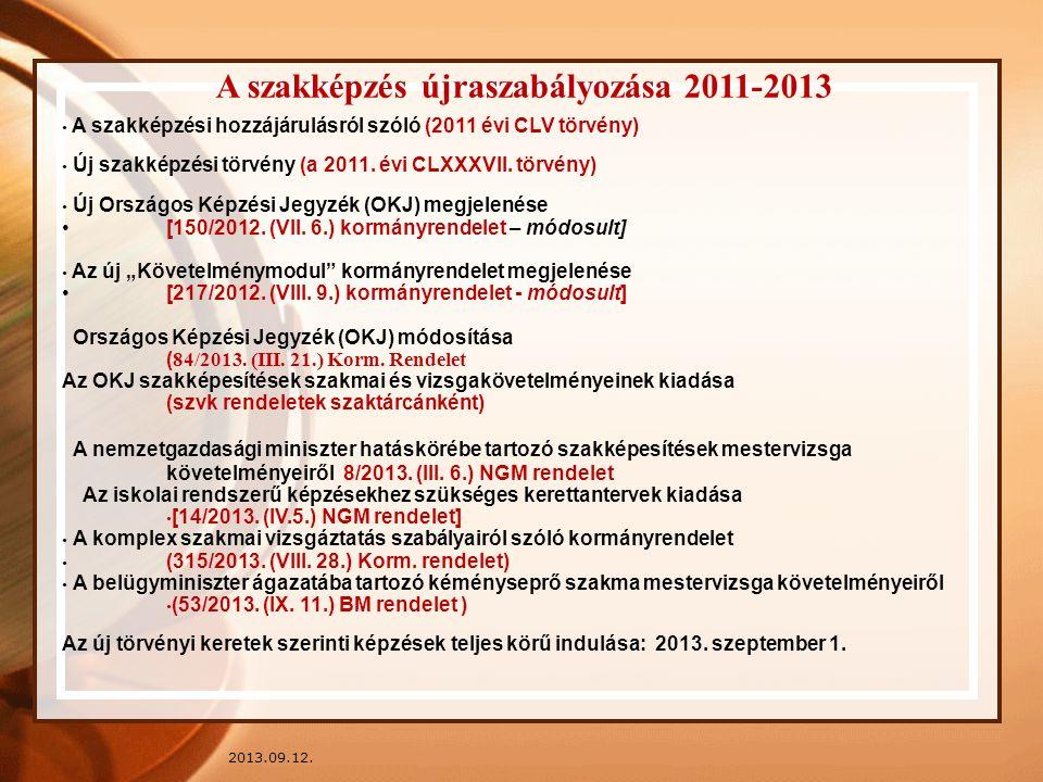 2013.09.12. A szakképzés újraszabályozása 2011-2013 A szakképzési hozzájárulásról szóló (2011 évi CLV törvény) Új szakképzési törvény (a 2011. évi CLX