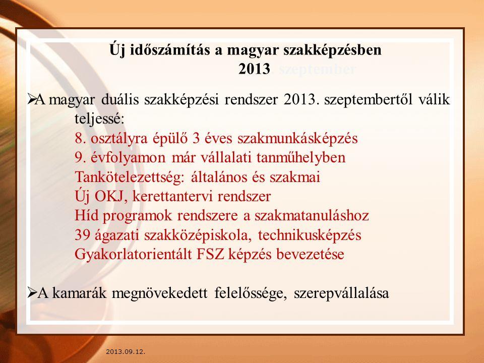 2013.09.12. Új időszámítás a magyar szakképzésben 2013. szeptember  A magyar duális szakképzési rendszer 2013. szeptembertől válik teljessé: 8. osztá