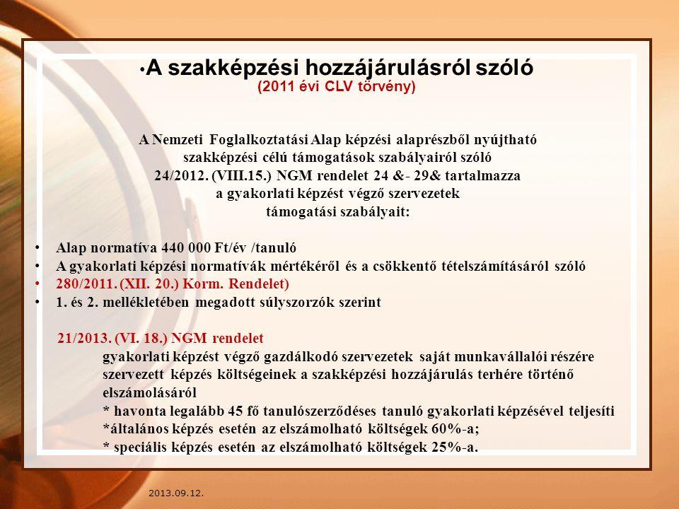 2013.09.12. A szakképzési hozzájárulásról szóló (2011 évi CLV törvény) A Nemzeti Foglalkoztatási Alap képzési alaprészből nyújtható szakképzési célú t
