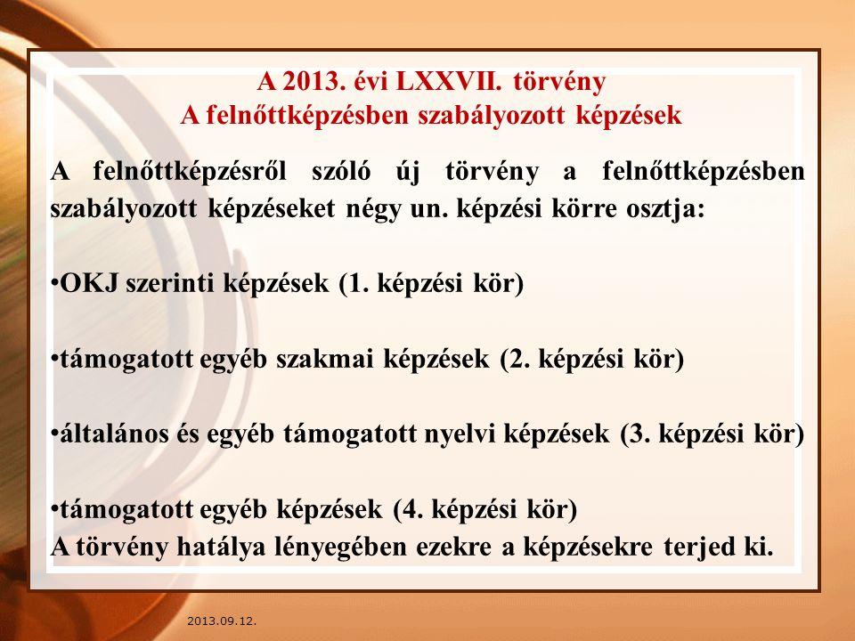 2013.09.12. A 2013. évi LXXVII. törvény A felnőttképzésben szabályozott képzések A felnőttképzésről szóló új törvény a felnőttképzésben szabályozott k
