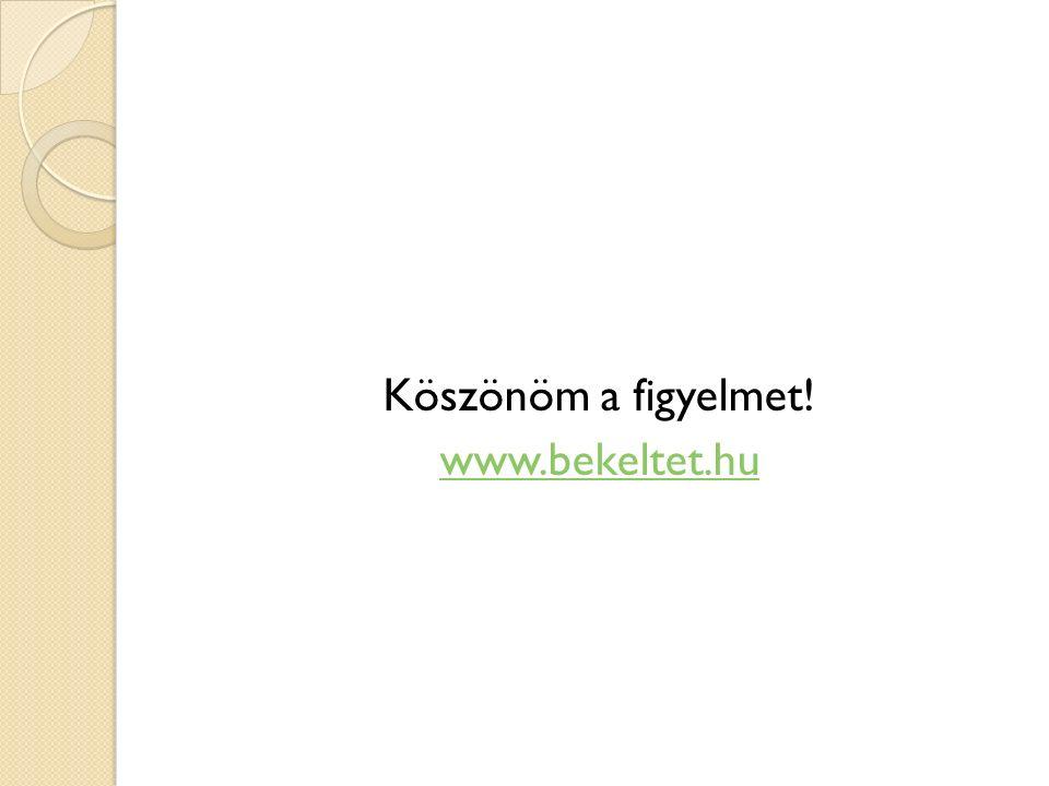 Köszönöm a figyelmet! www.bekeltet.hu