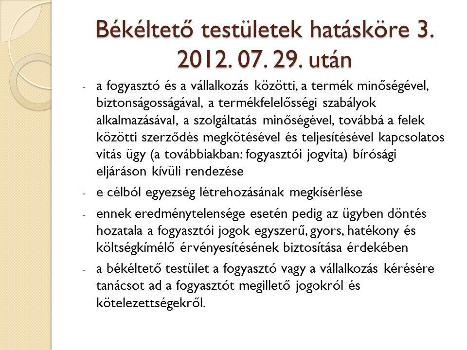 Békéltető testületek hatásköre 3. 2012. 07. 29.