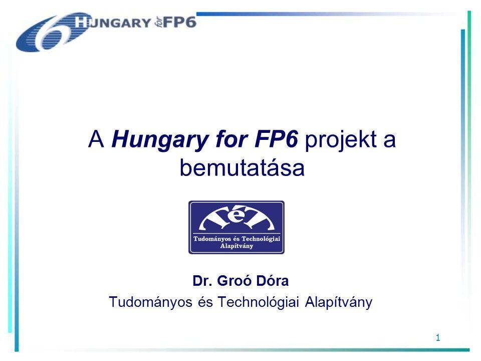 1 A Hungary for FP6 projekt a bemutatása Dr. Groó Dóra Tudományos és Technológiai Alapítvány
