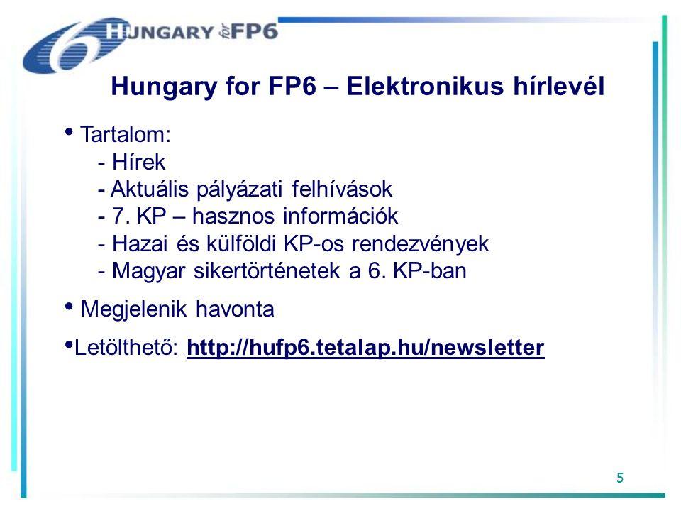 5 Hungary for FP6 – Elektronikus hírlevél Tartalom: - Hírek - Aktuális pályázati felhívások - 7.