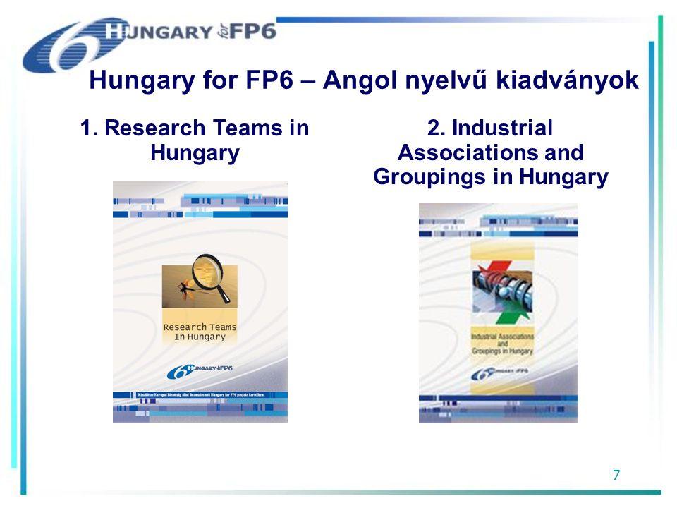 8 Hungary for FP6 – Angol nyelvű kiadványok 3.FP6 Contact Points in Hungary 4.