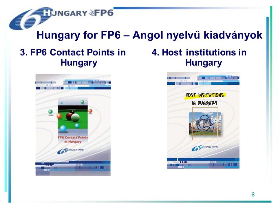 8 Hungary for FP6 – Angol nyelvű kiadványok 3. FP6 Contact Points in Hungary 4.