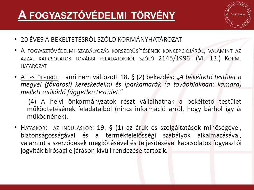 20 ÉVES A BÉKÉLTETÉSRŐL SZÓLÓ KORMÁNYHATÁROZAT A FOGYASZTÓVÉDELMI SZABÁLYOZÁS KORSZERŰSÍTÉSÉNEK KONCEPCIÓJÁRÓL, VALAMINT AZ AZZAL KAPCSOLATOS TOVÁBBI FELADATOKRÓL SZÓLÓ 2145/1996.