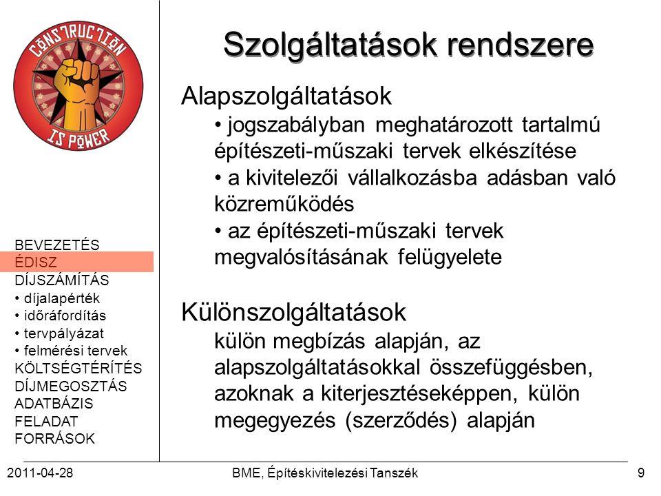 BEVEZETÉS ÉDISZ DÍJSZÁMÍTÁS díjalapérték időráfordítás tervpályázat felmérési tervek KÖLTSÉGTÉRÍTÉS DÍJMEGOSZTÁS ADATBÁZIS FELADAT FORRÁSOK 2011-04-28BME, Építéskivitelezési Tanszék30 ÉPÍTÉSZETI ÉS MÉRNÖKI ÖSSZEVONT SZOLGÁLTATÁSOK AJÁNLOTT DÍJA, ALAPSZOLGÁLTATÁSOK, 2010 (építészet és koordinálás, tartószerkezet, épületgépészet, épületvillamosság), TERVEZÉSI SZAKASZOK (H1) – III.