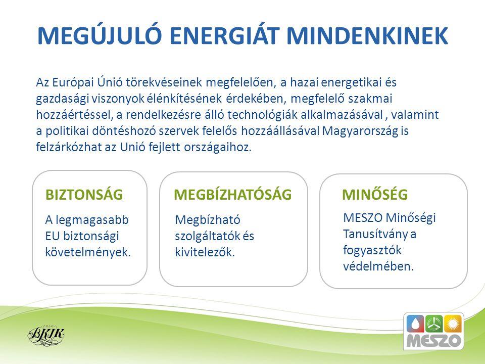 Az Európai Únió törekvéseinek megfelelően, a hazai energetikai és gazdasági viszonyok élénkítésének érdekében, megfelelő szakmai hozzáértéssel, a rend