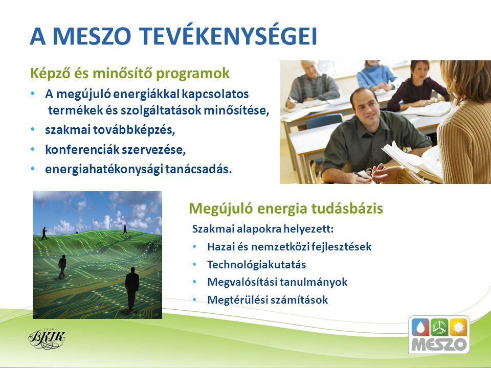 A megújuló energiákkal kapcsolatos termékek és szolgáltatások minősítése, szakmai továbbképzés, konferenciák szervezése, energiahatékonysági tanácsadá