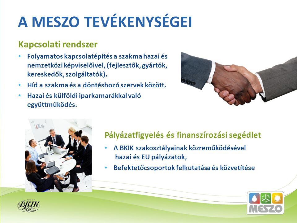 Folyamatos kapcsolatépítés a szakma hazai és nemzetközi képviselőivel, (fejlesztők, gyártók, kereskedők, szolgáltatók). Híd a szakma és a döntéshozó s
