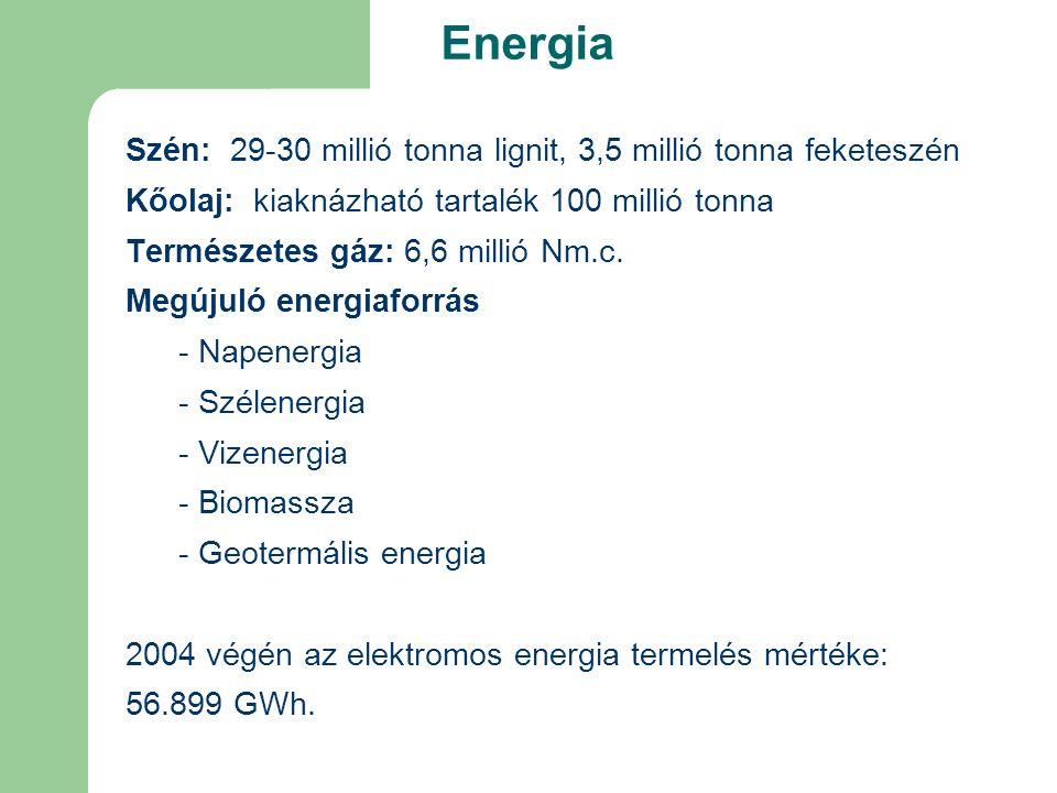 Energia Szén: 29-30 millió tonna lignit, 3,5 millió tonna feketeszén Kőolaj: kiaknázható tartalék 100 millió tonna Természetes gáz: 6,6 millió Nm.c.