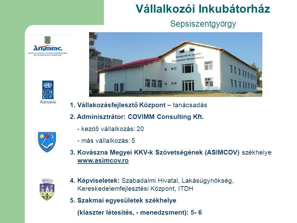 Vállalkozói Inkubátorház Sepsiszentgyörgy 1. Vállakozásfejlesztő Központ – tanácsadás 2.
