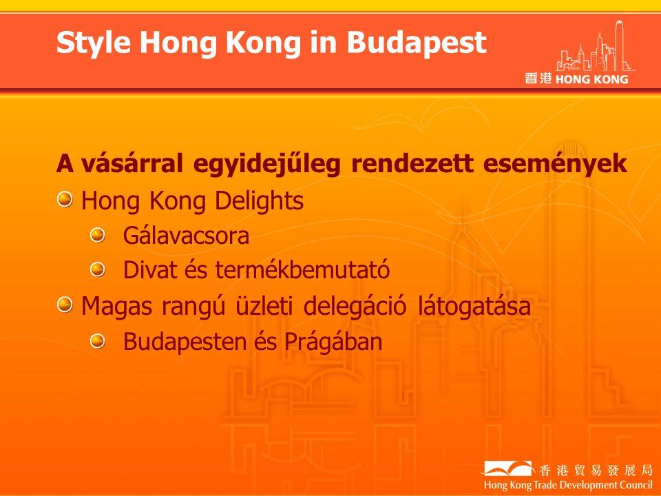 A vásárral egyidejűleg rendezett események Hong Kong Delights Gálavacsora Divat és termékbemutató Magas rangú üzleti delegáció látogatása Budapesten és Prágában