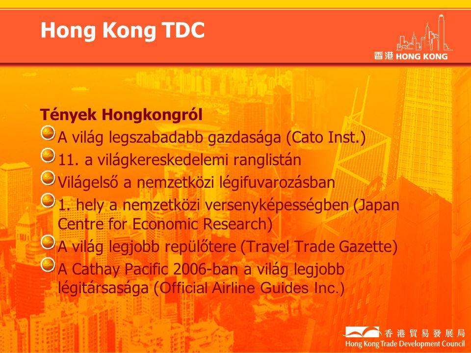 Hong Kong TDC Tények Hongkongról A világ legszabadabb gazdasága (Cato Inst.) 11.