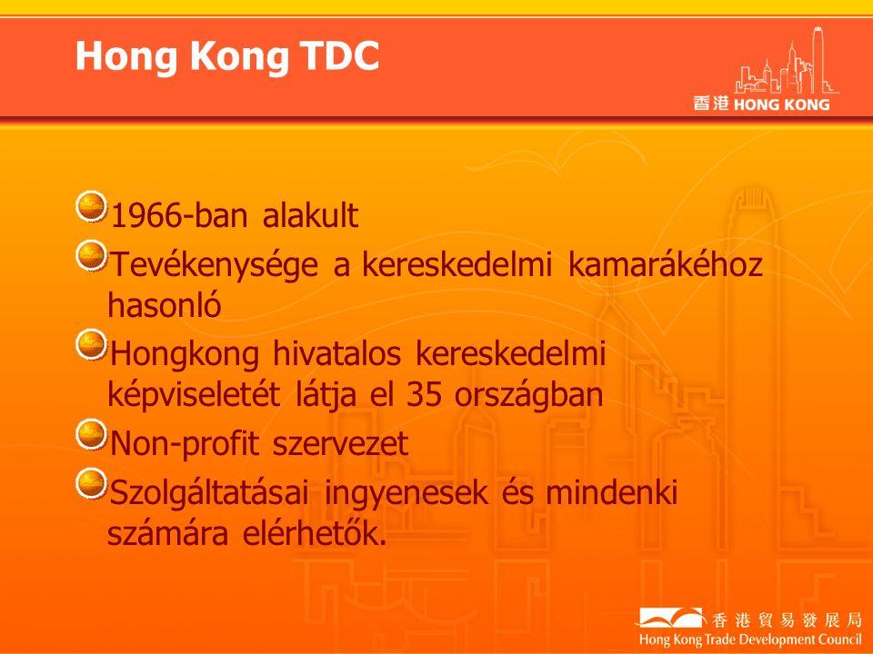 Hong Kong TDC 1966-ban alakult Tevékenysége a kereskedelmi kamarákéhoz hasonló Hongkong hivatalos kereskedelmi képviseletét látja el 35 országban Non-profit szervezet Szolgáltatásai ingyenesek és mindenki számára elérhetők.